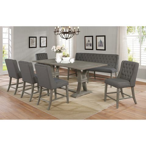 Best Quality Furniture Rustic 7-Piece Extension Counter Height Dining Set w/ Leaf and Bench