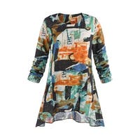 Women's Tunic Top - Abstract Art Print Blouse with Pockets