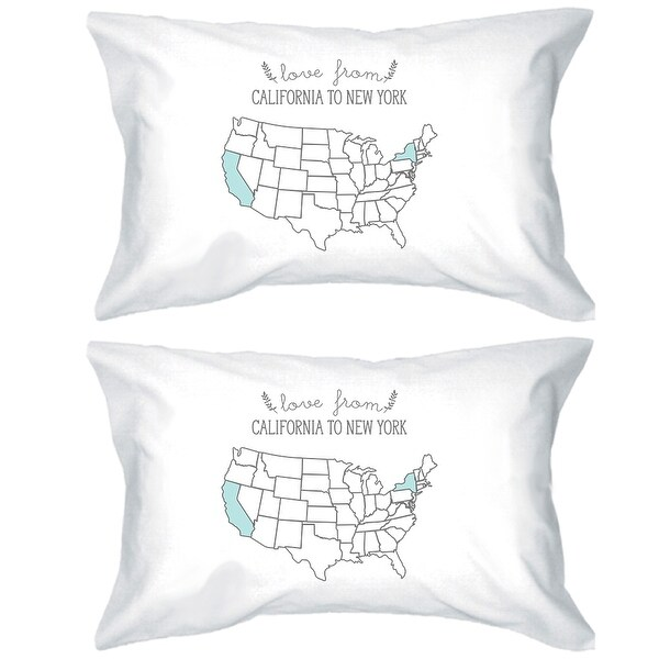 Love From States White Personalized Pillow Cases Customized Gifts