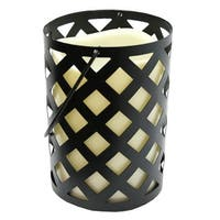 """7"""" Black Metal Criss Cross Lantern with Bisque LED Lighted Flameless Indoor/Outdoor Pillar Candle"""
