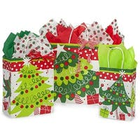Pack of 125, Jolly Christmas Trees Bag Assortment For Christmas Packaging, 100% Recyclable, Made In Usa