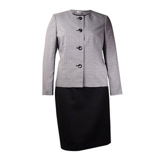 Le Suit Women's Colorblock Plaid Skirt Suit (2P, Black/White) - BLACK/WHITE - 2p