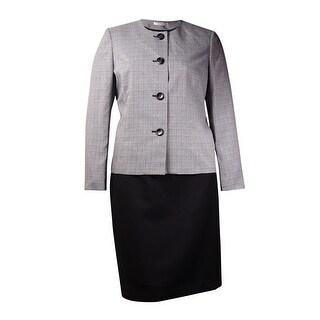 Le Suit Women's Colorblock Plaid Skirt Suit (6, Black/White) - BLACK/WHITE - 6