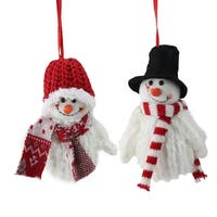 """2-Piece Set of Tiny Smiling Christmas Fuzzy Snowman with Hat and Striped Scarf Ornaments 5"""" - WHITE"""
