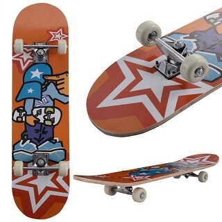 Costway 31'' x 8'' Professional Kids Skateboard Complete Wheel Trucks Maple Deck Wood Gift - as pic