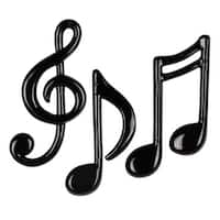 """Club Pack of 36 Molded Shiny Black Musical Note Decorations 4.5""""- 5.5"""""""