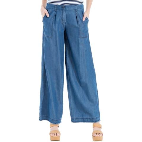 Max Studio London Womens Odette Blue Tencel Blend Wide Leg Jeans