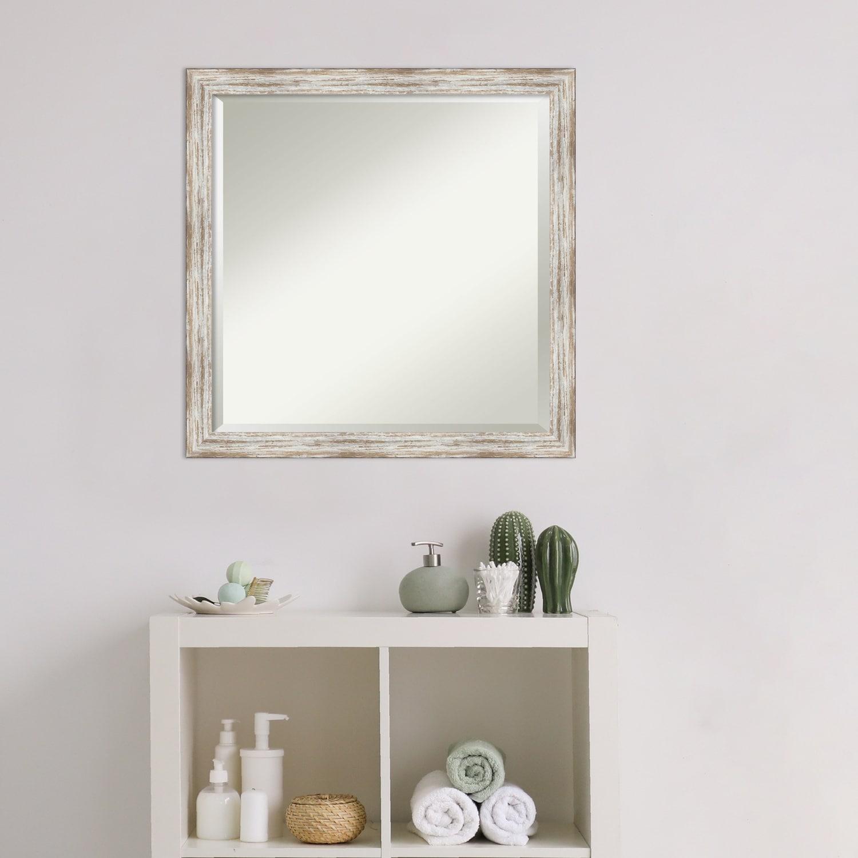 Bathroom Vanity Mirror Distressed Cream Wood 23 X 23 Inch Overstock 27981790