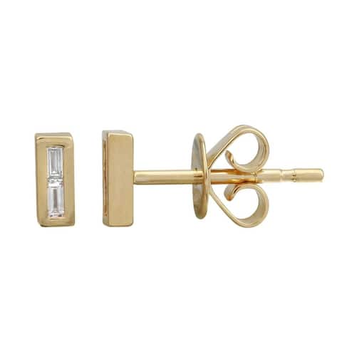 14k Yellow Gold Diamond Baguette Bar Stud Earrings (1/20 carat)