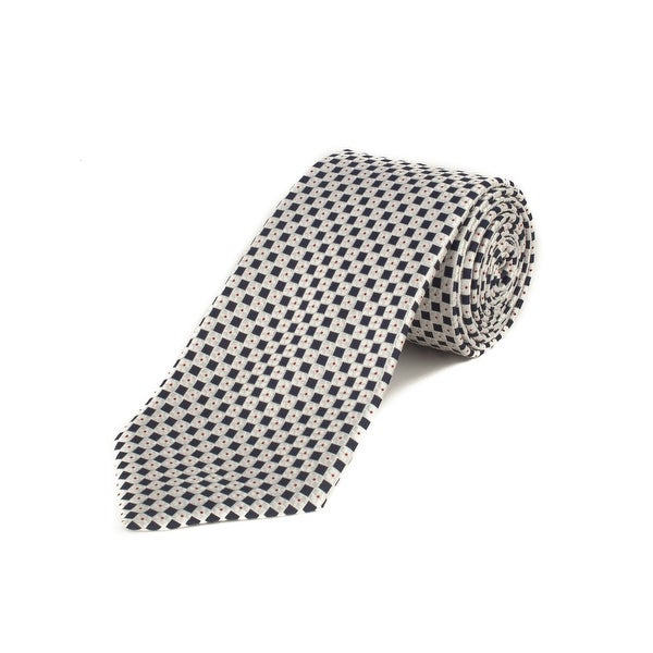 53a5335a Ermenegildo Zegna Men's Silk Geometric Pattern Tie White - No Size