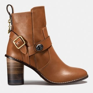 Coach Womens moto boot Leather Closed Toe Ankle Fashion Boots - 7.5