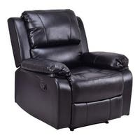 Costway Manual Recliner Sofa Lounge Chair PU Leather Home Theater Padded Reclining Black