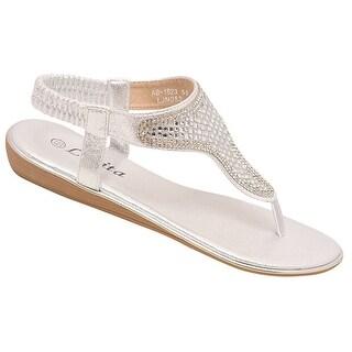 Lucita Adult Silver Glitter Rhinestone Adorned Flip Flop Sandals 7.5 Womens