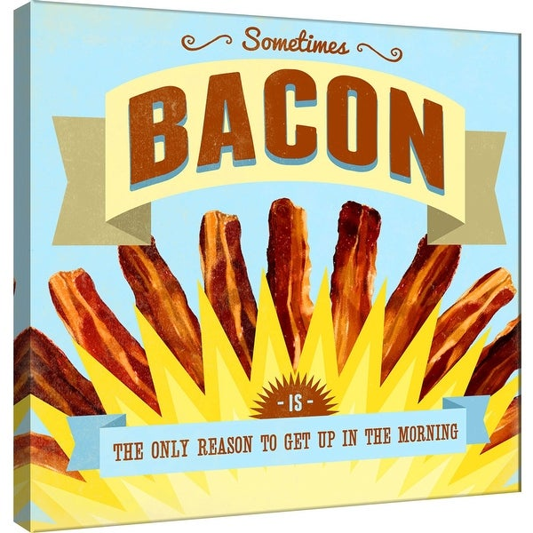 """PTM Images 9-100056 PTM Canvas Collection 12"""" x 12"""" - """"Morning"""" Giclee Sometimes Bacon Art Print on Canvas"""