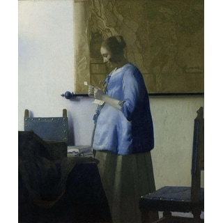 Easy Art Prints Johannes Vermeer's 'Woman in Blue Reading a Letter' Premium Canvas Art