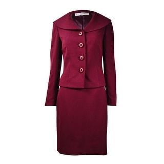 Tahari Women's Solid Collared Skirt Suit (16P, Wine) - 16p