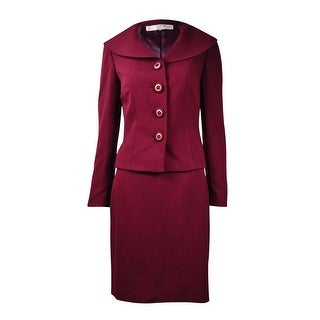 Tahari Women's Solid Collared Skirt Suit (6P, Wine) - 6P