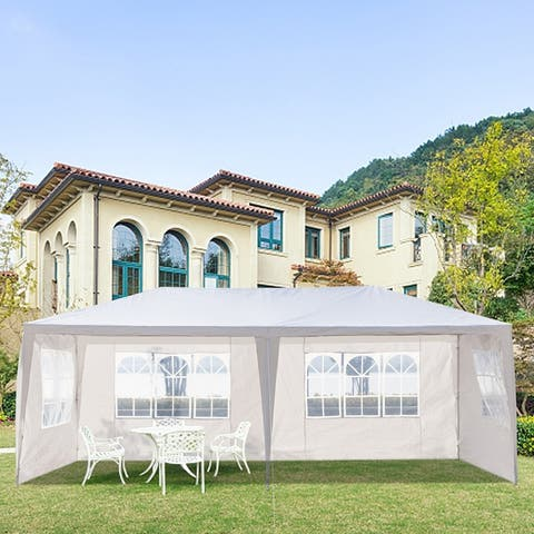 3 x 6m Waterproof Tent with Spiral Tubes White 4/6 Sides