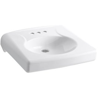 "Kohler K-1997-4N  Brenham 14-3/8"" Wall Mounted Bathroom Sink with 3 Holes Drilled - White"