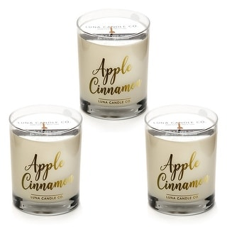 Apple Cinnamon Candle, Natural Soy Wax, Holiday Gift (3 Pack)