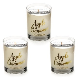 Strong Scented Apple Cinnamon Candle, Soy Wax, Long Burn (3 Pack)