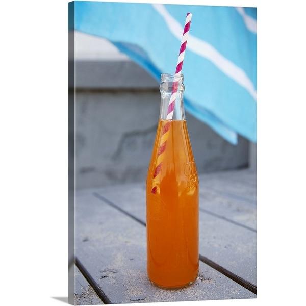 """Old fashioned orange soda bottle with straw"" Canvas Wall Art"