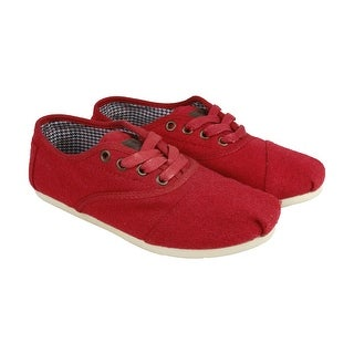 Toms Womens Cordones Womens Red Suede Lace Up Sneakers Shoes