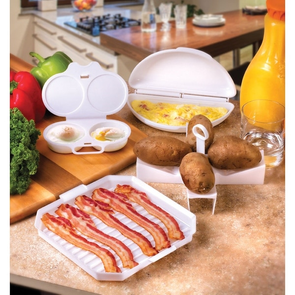Microwave Breakfast Cooking 4- Piece Set - Egg Poacher, Bacon Plate, Potato Baker, and Omelet Tray