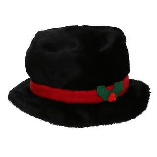 9 Black Plush Snowman Christmas Hat with Trim and Holly Berries