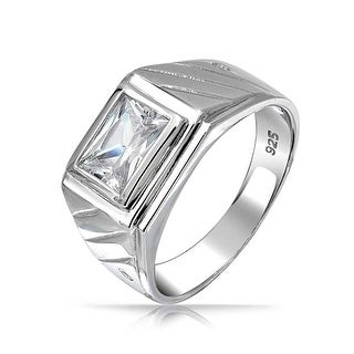 Bling Jewelry .925 Sterling Silver Rectangle Grooved Lines CZ Mens Engagement Ring