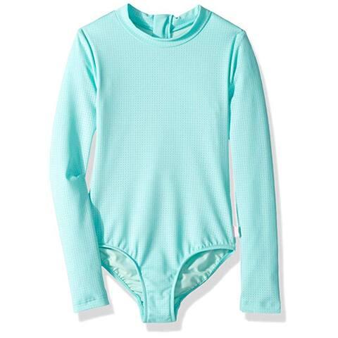 Seafolly Big Girls' Long Sleeve Tank One Piece Swimsuit, Emerald Blue, 14