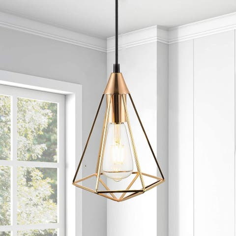 Gold basket light fixture industrial cage pendant light