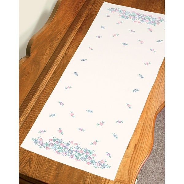 "Stamped Embroidery Dresser Scarf 14""X39""-Wildflowers"