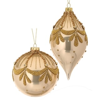 Set of 2 Gold and White Glass Bead Art Deco Ball/Kismet Christmas Ornaments
