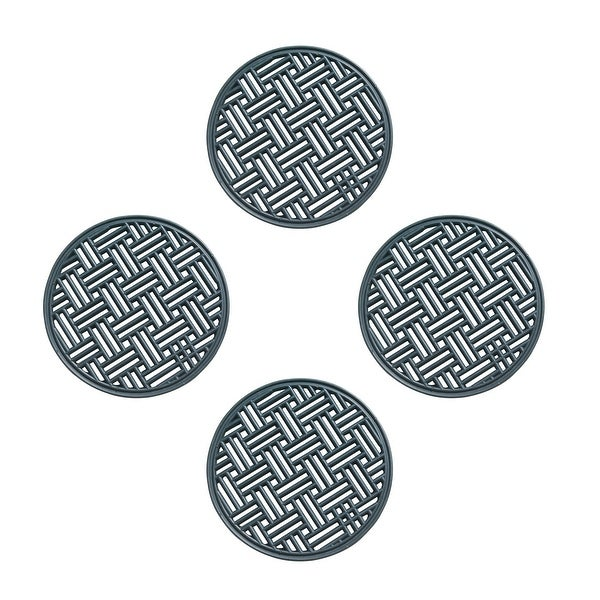 A1HC Rubber Step Mat Multi Functional -Garden Stepping Stone Mat, Outdoor Decorative Tray, Round 12-Inch Dia- Set of 4, Black. Opens flyout.