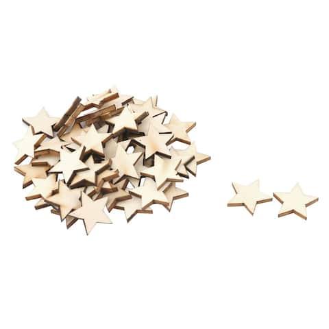 Unique Bargains Wooden Star Shaped DIY Craft Christmas Tree Ornaments Beige 50 x 50mm 50 Pcs