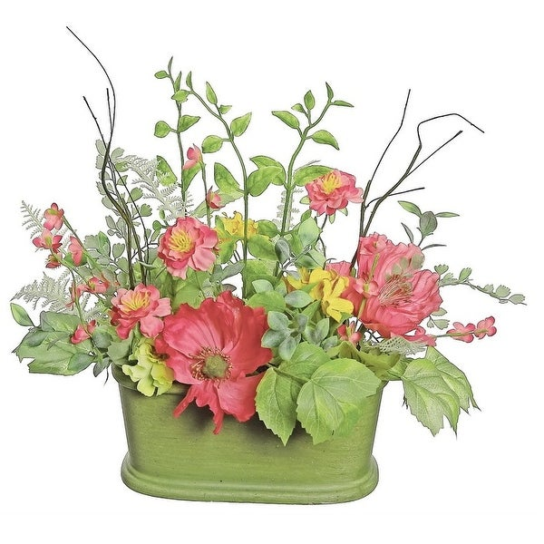 """15"""" Red Poppy and Orange Wildflower Artificial Floral Table Top Decoration with Oval Pot"""