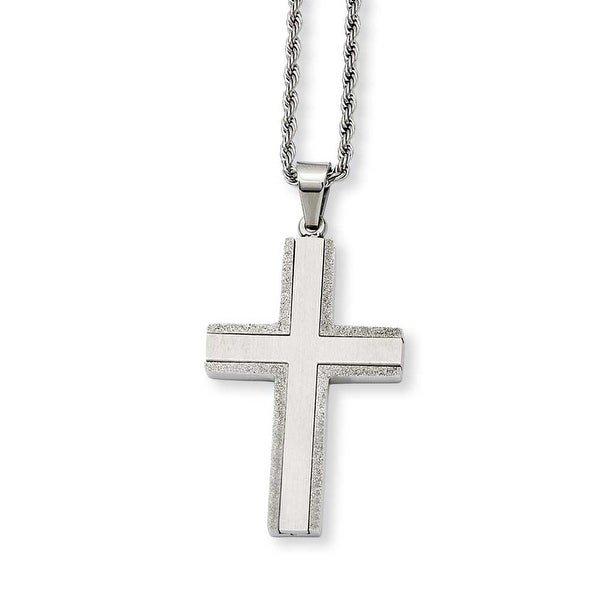 Stainless Steel Laser Cut Edges Cross Pendant 24in Necklace (1 mm) - 24 in