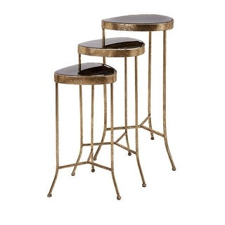 """Set of 3 Glamorous Metallic Gold and Black Mirrored Metal Nesting Accent Tables 31.5"""""""
