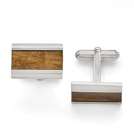 Chisel Stainless Steel Polished Brown Wood Inlay Enameled Cuff Links