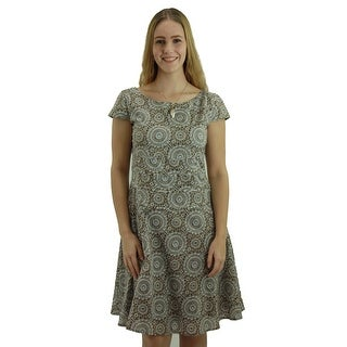 Signature Weaves Women's Tide Pool Printed Camel Casual dress