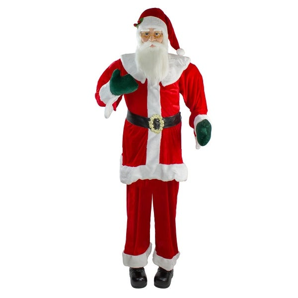 6' Red Huge Life Size Plush Standing Santa Claus Christmas Decor - N/A