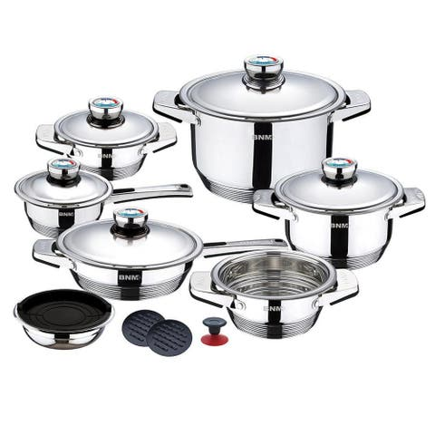 Berlinger Haus 17-Piece Wide edge Stainless Steel Cookware Set, Steel Collection