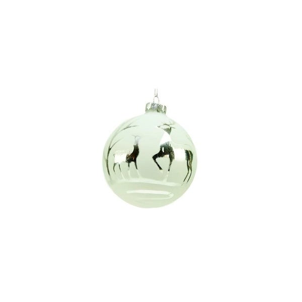 "5"" Winter Light White and Silver Deer Glass Ball Christmas Ornament"