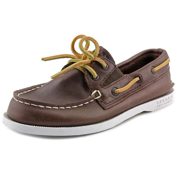 Sperry Top Sider A/O Slip On Youth Moc Toe Leather Brown Boat Shoe
