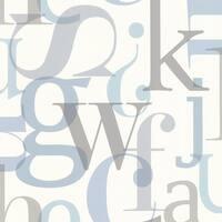 Brewster 347-20138 Angus Blue Vintage Letter Font Wallpaper - N/A