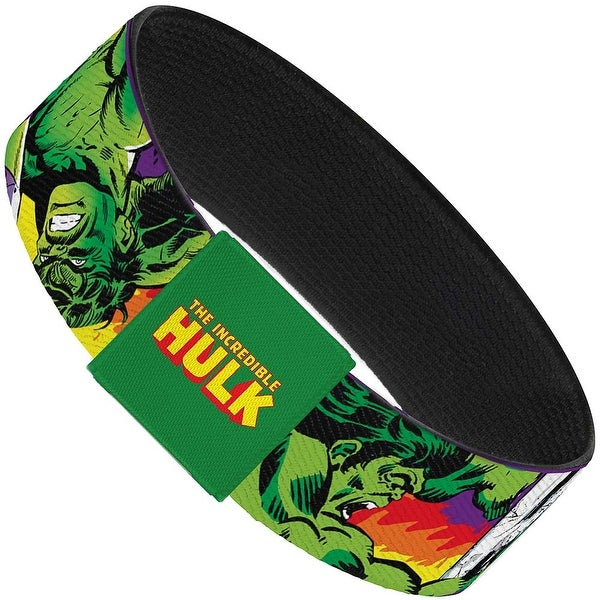 "Hulk Stomping Punching Hulk Purple Red Orange Yellow Elastic Bracelet 1.0"" Wide"
