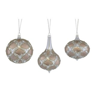 Set of 9 Gray Glass Ornaments Christmas Decorations 7.5