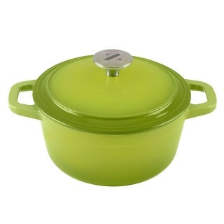 Zelancio 3 Quart Cast Iron Enamel Covered Dutch Oven Cooking Dish with Lid (Green)
