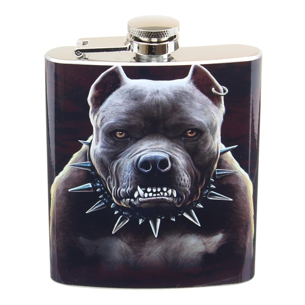 Growling Pitbull 7oz Flask - Multi